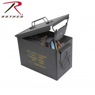2107 Rothco Olive Drab .50 Cal Fat Military Large Steel Ammo Can