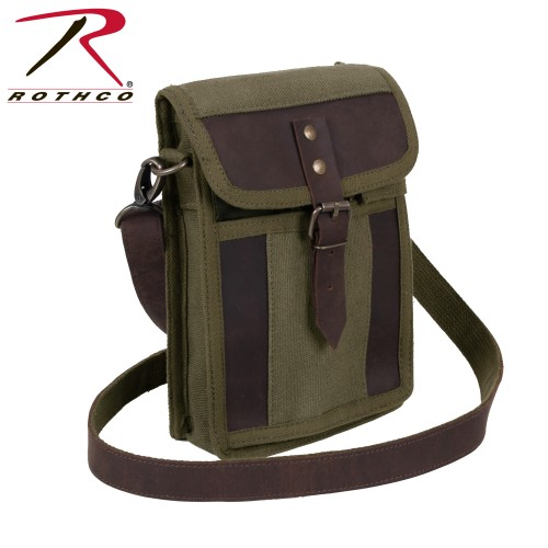 2349 Rothco Canvas Travel Portfolio Bag With Leather Accents