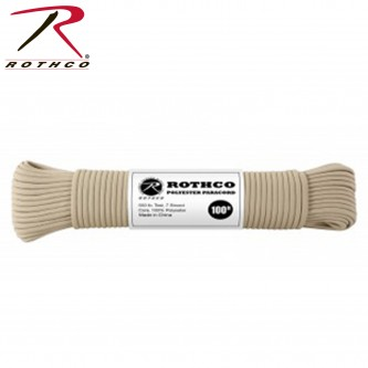 Rothco TAN 30801 - 550LB 7 Strand 100% Polyester Type III Paracord Rope 100 Feet