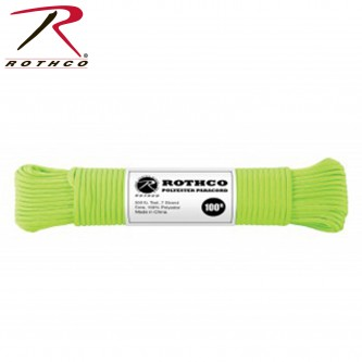 Green 30802 - 550LB 7 Strand 100% Polyester Type III Import Paracord Rope 100'