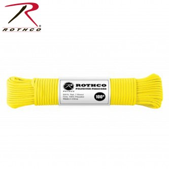 YELLOW 30804 - 550LB 7 Strand 100% Polyester Type III Import Paracord Rope 100'