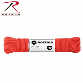RED 30805 - 550LB 7 Strand 100% Polyester Type III Import Paracord Rope 100'