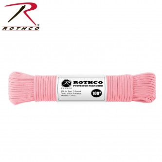 PINK 30806 - 550LB 7 Strand 100% Polyester Type III Import Paracord Rope 100'