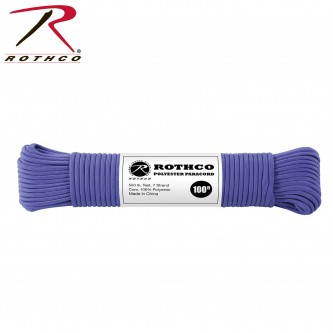 BLUE 30808- 550LB 7 Strand 100% Polyester Type III Import Paracord Rope 100'