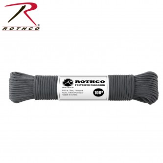 Charcoal 30809- 550LB 7 Strand 100% Polyester Type III Import Paracord Rope 100'