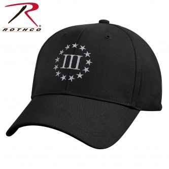 8997 Three Percenter Deluxe Black American Revolution Low Profile Baseball Hat 8997
