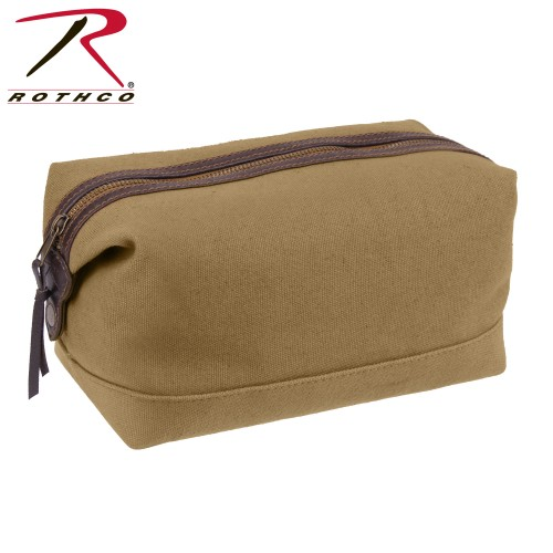 91260 Coyote Brown Leather & Canvas Travel Toiletry Kit Bag Rothco 91260