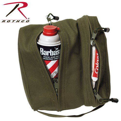 9126-OD Rothco Dual Compartment Toiletry Shave Canvas Travel Bag[Olive Drab]