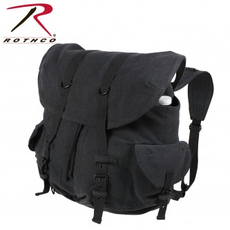 9658 Rothco Vintage Weekender Canvas Front Strap Backpack[Black]