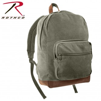 Rothco Vintage Canvas Teardrop Backpack With Leather Accents[Olive Drab] 9666