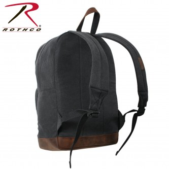 9667 Rothco Vintage Canvas Teardrop Backpack With Leather Accents[Black]
