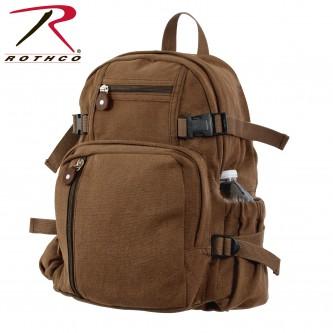 9743 Rothco Vintage Canvas Mini Military Backpack Compact Bag[Brown]