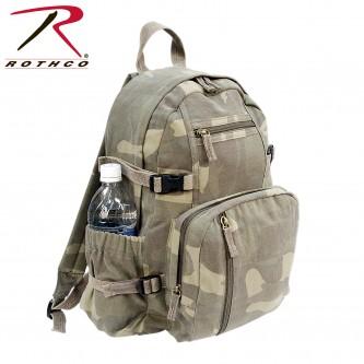 9762 Rothco Vintage Canvas Mini Military Backpack Compact Bag[Woodland Camo]