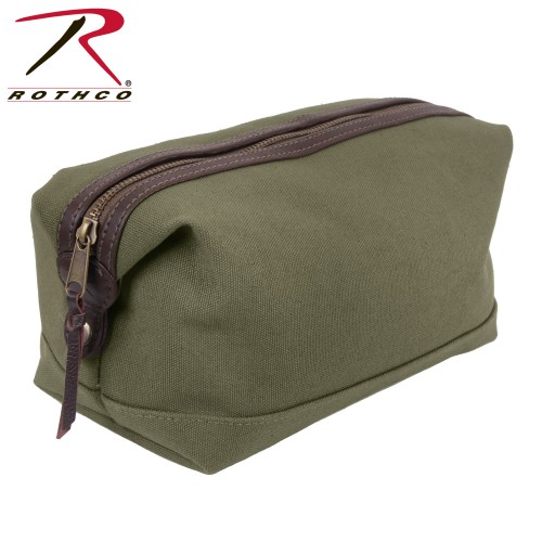 9866 Travel Toiletry Kit Bag Olive Drab Leather & Canvas Rothco 9866